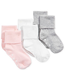 First Impressions Baby Girls 3-Pk. Cuffed Low-Cut Socks, Created for Macy's