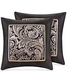 "Aubrey Paisley Jacquard 20"" Square Pair of Decorative Pillows"