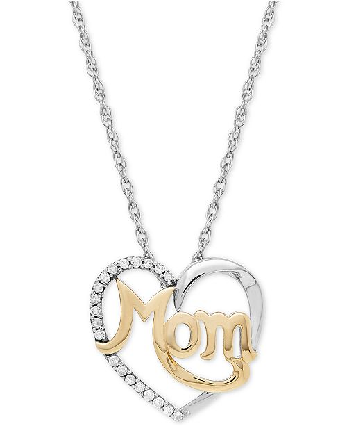 Macy's Diamond Mom Heart Pendant (1/10 ct. t.w.) in Sterling Silver and 14k Gold