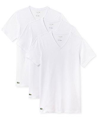 cd7c0053 Lacoste Men's 3 Pack Cotton V-Neck Undershirts & Reviews - Underwear &  Socks - Men - Macy's