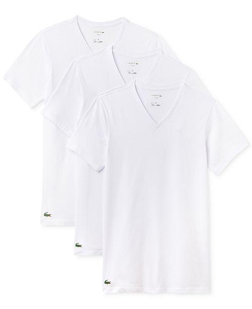 3cd826c1 Lacoste Men's 3 Pack Cotton V-Neck Undershirts & Reviews - Underwear ...