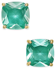 kate spade new york Gold-Tone Aqua Crystal Stud Earrings