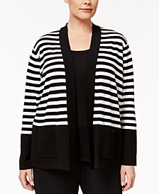 Plus Size Striped Open Cardigan