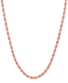 Rope Chain Necklace (2-1/2mm) in 14k Rose Gold