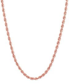"20"" Rope Chain Necklace (2-1/2mm) in 14k Rose Gold"