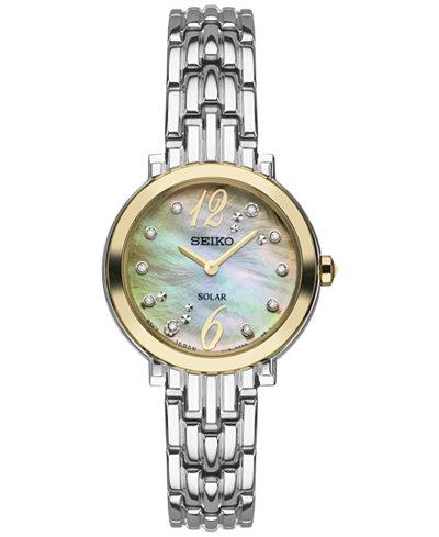 Seiko Women's Tressia Solar Diamond Accent Stainless Steel Bracelet Watch 23mm SUP354