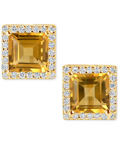 Citrine (4-1/5 ct. t.w.) and Diamond (1/3 ct. t.w.) Stud Earrings in 14k Gold.