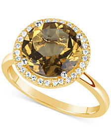 Citrine (3 ct. t.w.) and Diamond (1/6 ct. t.w.) Ring in 14k Gold