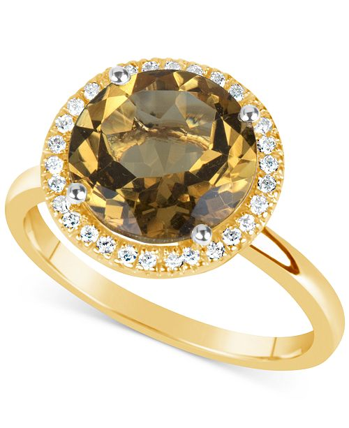 Macy's Citrine (3 ct. t.w.) and Diamond (1/6 ct. t.w.) Ring in 14k Gold