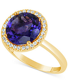 Amethyst (3 ct. t.w.) and Diamond (1/6 ct. t.w.) Ring in 14k Gold