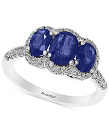 Effy Final Call Sapphire (2-1/10 ct. t.w.) and Diamond (3/8 ct. t.w.) Ring in 14k White Gold