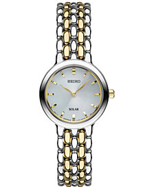 Seiko Women's Dress Solar Two-Tone Stainless Steel Bracelet Watch 23mm SUP349