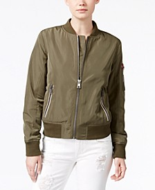 Zip-Detail Bomber Jacket