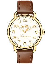 COACH Women's Delancey Brown Leather Strap Watch 36mm 14502715
