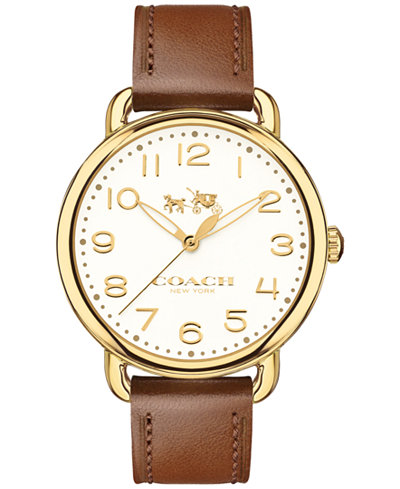 COACH Women's Delancey Brown Leather Strap Watch 36mm 14502715