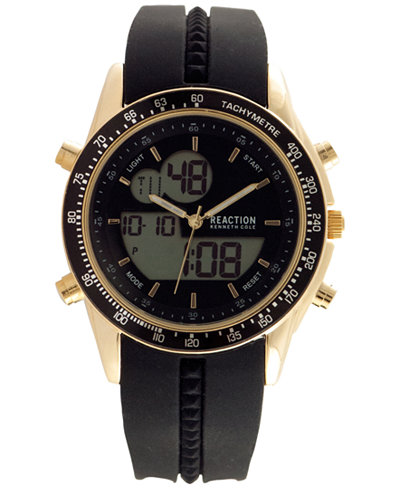 Kenneth Cole Reaction Men's Analog-Digital Black Silicone Strap Watch 45x53mm 10030990