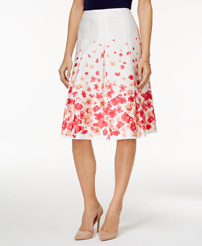 Charter Club Petite Floral-Print A-Line Skirt, Created for Macy's ...