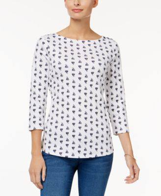 Image of Charter Club Button-Shoulder Print Top, Only at Macy's