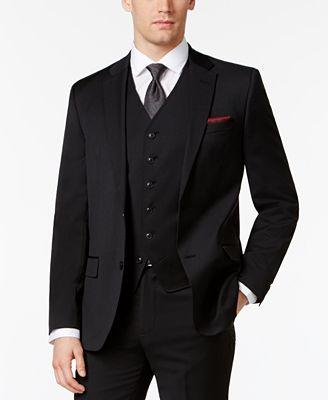 Ben Sherman Men's Slim-Fit Black Solid Suit Jacket - Suits & Suit ...
