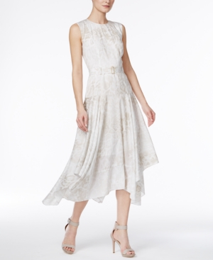 10 Downton Abbey Style Dresses Calvin Klein Belted Handkerchief-Hem Dress $89.99 AT vintagedancer.com