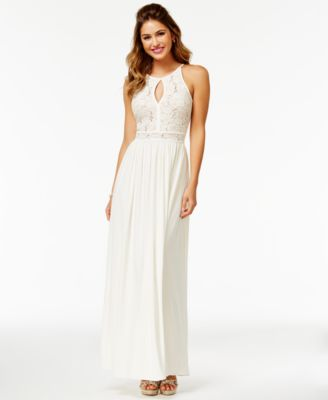 Juniors' Sequined Lace Halter Gown