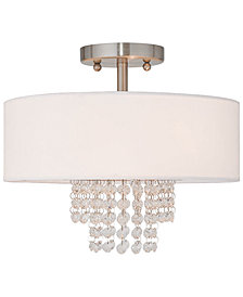 Livex Carlisle 13'' Brushed Nickel Semi Flush