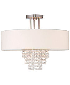 Livex Carlisle 18'' Brushed Nickel Semi Flush