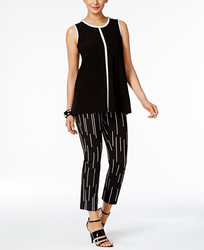 Alfani Colorblocked Top & Printed Cropped Pants, Created for Macy's