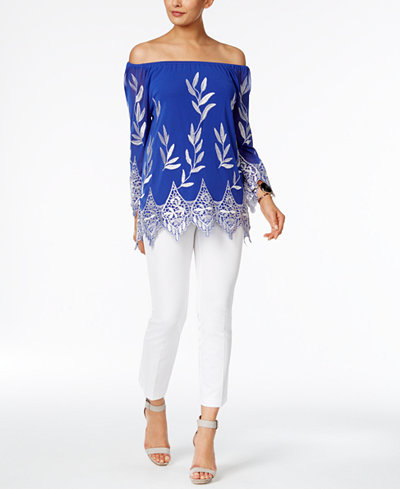 Alfani Embroidered Off-The-Shoulder Top & Cropped Pants, Created for Macy's