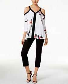 Alfani Cold-Shoulder Top & Cropped Pants, Created for Macy's