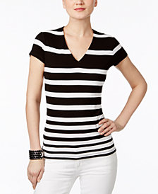 I.N.C. Striped V-Neck Top, Created for Macy's