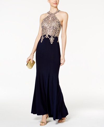 Xscape Embroidered Mesh Halter Gown Dresses Women Macy S