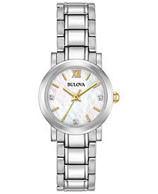 Bulova Women's Diamond Accent Stainless Steel Bracelet Watch 26mm, Created for Macy's