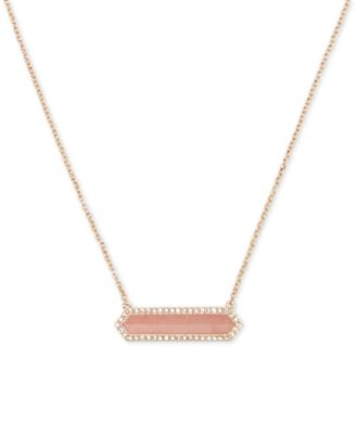 Image of Vera Bradley Rose Gold-Tone Pink Stone and Crystal Pendant Necklace