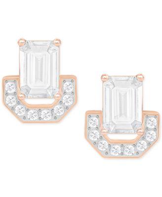 Swarovski Rose GoldTone Square Crystal Stud Earrings Fashion