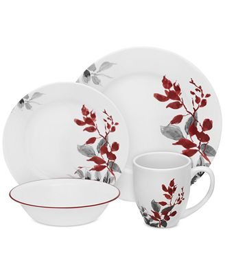 Corelle Kyoto Leaves Round 16 Pc Set Service For 4 Dinnerware