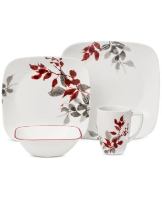 main image; main image ...  sc 1 st  Macy\u0027s & Corelle Kyoto Leaves Square 16-Pc. Set Service for 4 - Dinnerware ...