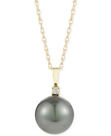 Cultured Tahitian Pearl (10mm) and Diamond Accent Pendant Necklace in 14k Gold
