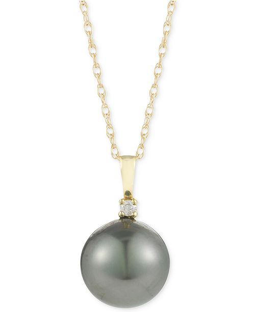 Macy's Cultured Tahitian Pearl (10mm) and Diamond Accent Pendant Necklace in 14k Gold