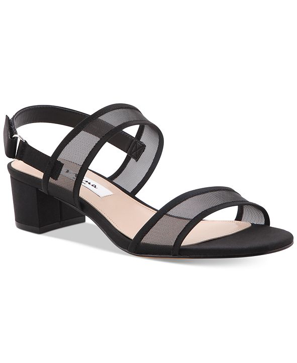 Nina Ganice Block-Heel Evening Sandals