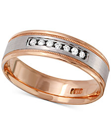 Men's Diamond Two-Tone Band (1/4 ct. t.w.) in 10k Gold and White Gold or Rose Gold and White Gold