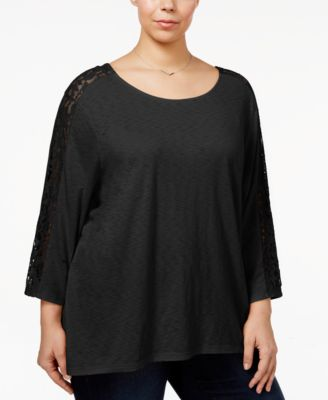 Style & Co Plus Size Plus Size Lattice-Back Lace-Trim Top, Only at Macy's