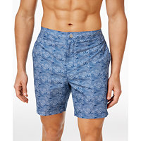 2 Calvin Klein Mens Wave-Print Swim Trunks (Indigo Blue)