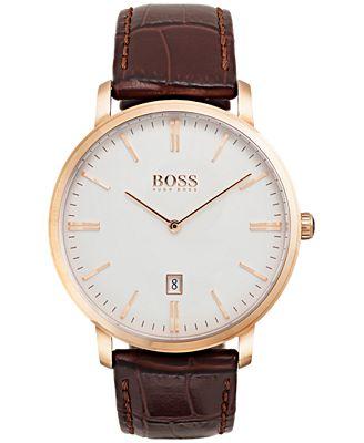 BOSS Hugo Boss Men's Tradition Dark Brown Leather Strap Watch 40mm 1513463