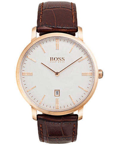 BOSS Hugo Boss Men's Tradition Dark Brown Leather Strap Watch 40mm 1513463