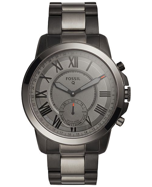 Fossil Q Men S Grant Black Smoke Tone Stainless Steel Bracelet Hybrid Smart Watch 44mm