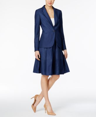 Tommy Hilfiger Denim Blazer & A-Line Skirt - Women - Macy's