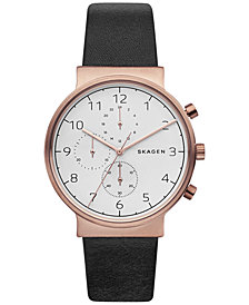 Skagen Men's Chronograph Ancher Black Leather Strap Watch 40mm SKW6371