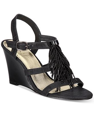Adrianna Papell Adair Fringe Wedge Evening Sandals