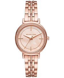 Michael Kors Women's Cinthia Crystal Accent Rose Gold-Tone Stainless Steel Bracelet Watch 33mm MK3643